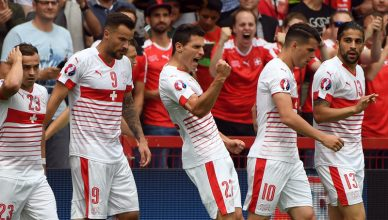 Switzerland's Fabian Schaer (centre), celebrates after scoring the opening goal during the Euro 2016 Group A soccer match between Albania and Switzerland, at the Bollaert stadium in Lens, France, on Saturday, June 11, 2016. Photo: AP
