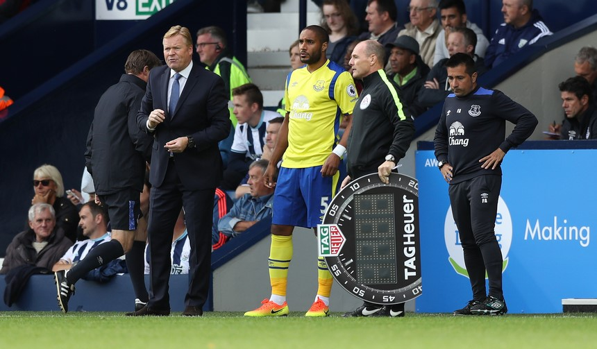 WEST BROMWICH, ENGLAND - AUGUST 20: Everton manager Ronald Koeman with substitute Ashley Williams as 4th Official Scott Duncan uses the Tag Heuer Board during the Premier League match between West Bromwich Albion and Everton at The Hawthorns on August 20, 2016 in West Bromwich, England. (Photo by Lynne Cameron/Getty Images)