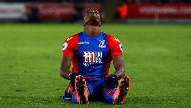 SWANSEA, WALES - NOVEMBER 26:  Wilfried Zaha of Crystal Palace reacts during the Premier League match between Swansea City and Crystal Palace at Liberty Stadium on November 26, 2016 in Swansea, Wales.  (Photo by Jan Kruger/Getty Images)