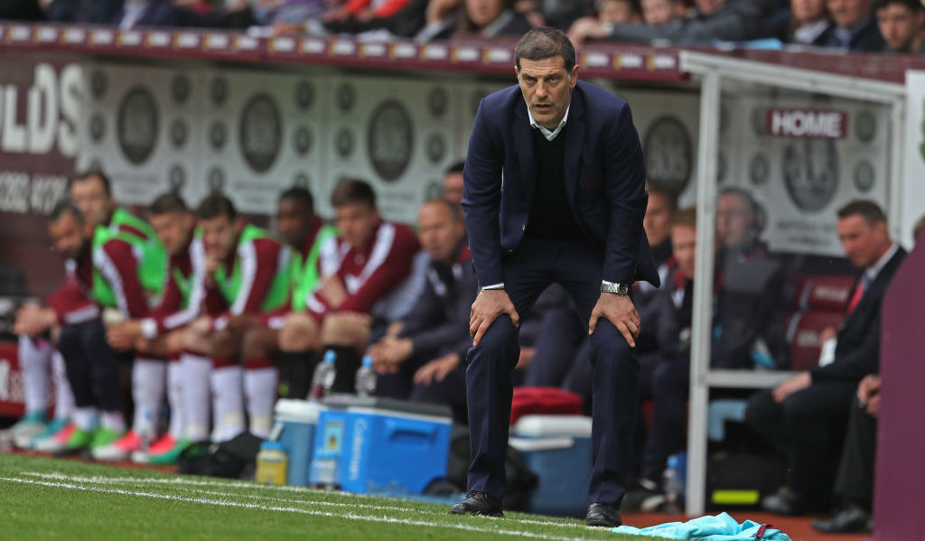 BURNLEY, ENGLAND - MAY 21: Slaven Bilic, Manager of West Ham United reacts during the Premier League match between Burnley and West Ham United at Turf Moor on May 21, 2017 in Burnley, England.  (Photo by Mark Robinson/Getty Images)