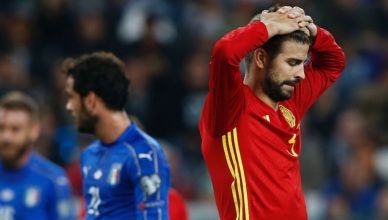 Spain's defender Gerard Pique reacts during the WC 2018 football qualification match between Italy and Spain on October 6, 2016 at the Juventus stadium in Turin / AFP / Marco BERTORELLO        (Photo credit should read MARCO BERTORELLO/AFP/Getty Images)