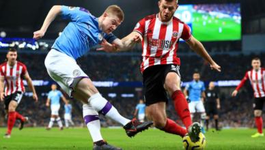 Manchester City vs Sheffield Utd Kevin de Bruyne cross