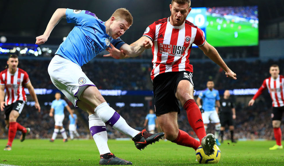 Manchester City vs Sheffield Utd Kevin de Bruyne cross