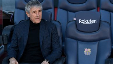 Barcelona's new coach Quique Setien poses during his official presentation at the Camp Nou stadium in Barcelona on January 14, 2020. (Photo by LLUIS GENE / AFP)